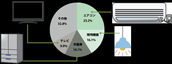 家庭内における一か月の電気代比率
