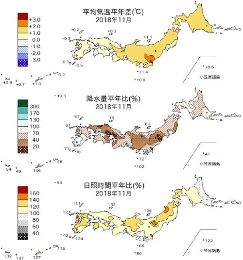 月平均気温平年偏差、月降水量平年比、月間日照時間平年比の分布図