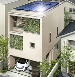 3階建てのお宅に太陽光発電