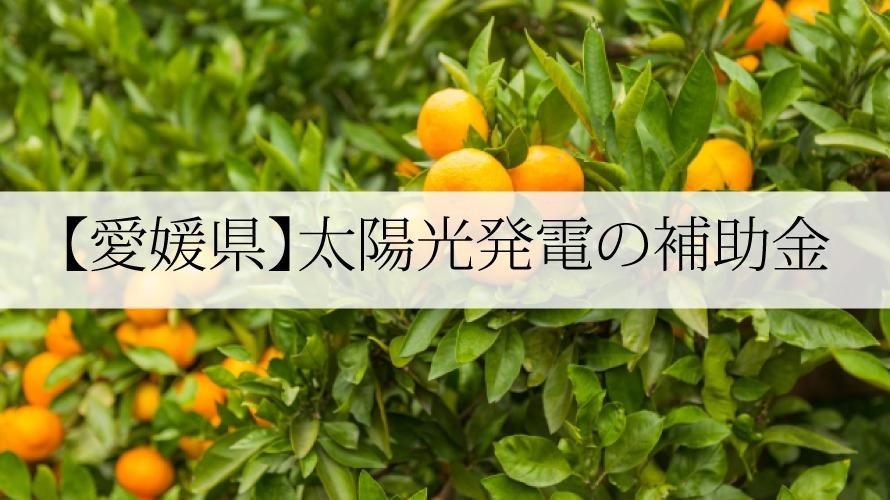 愛媛県の太陽光発電補助金