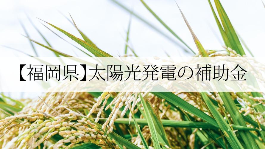 福岡県の太陽光発電補助金