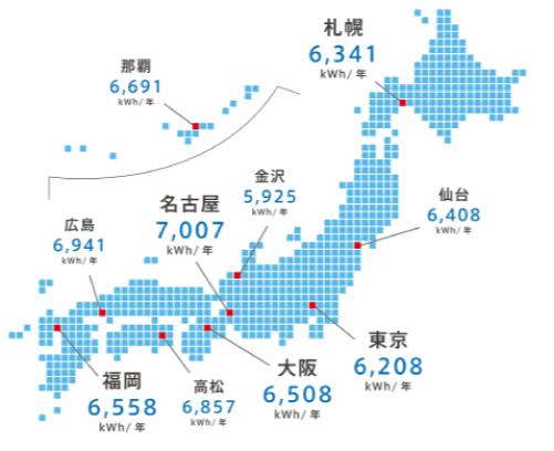 トリナソーラー都道府県別発電シミュレーション