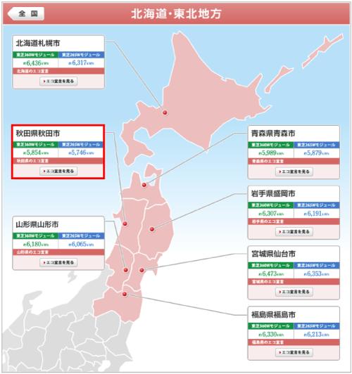 東芝を秋田県に設置した際の年間発電量